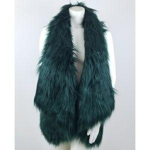 Romeo Juliet Green Shag Vest Faux Fur M Jacket